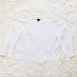 J. Crew Tops - J. Crew White Ribbed Split Hem Button Sleeve Top L